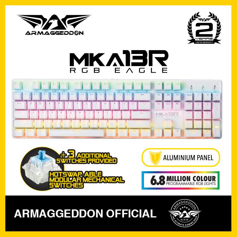 Armaggeddon MKA-13R Fully Macro-able™ RGB Programmable 16.9 Million Multicolour Backlight Gaming Keyboard Ultra-Durable 50 Million cycle OUTEMU Mechanical Tactile Switches 5g Variance Adjustable Response Time 1ms to 16ms Fade Proof Kevlartech Keycaps Singapore