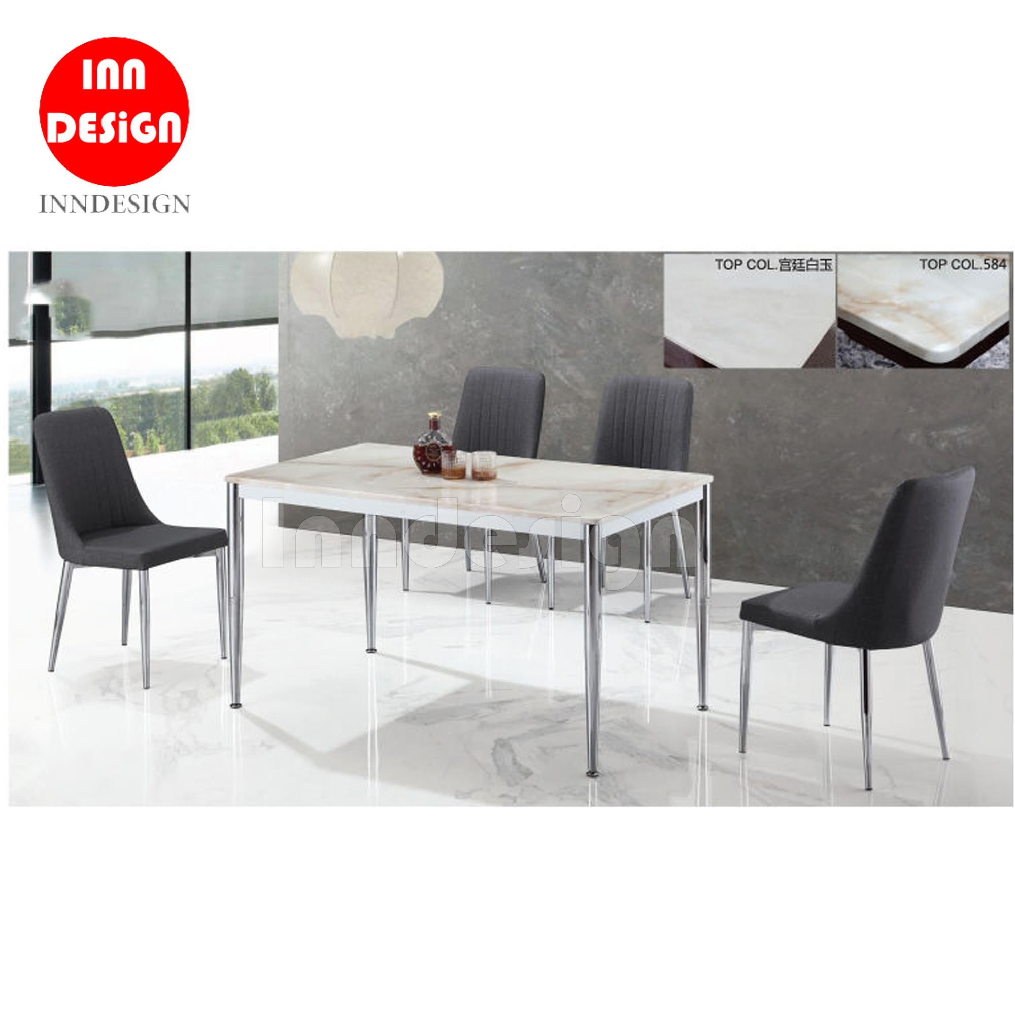 Elvis 1+4 Marble Table Dining Table Set (Black)