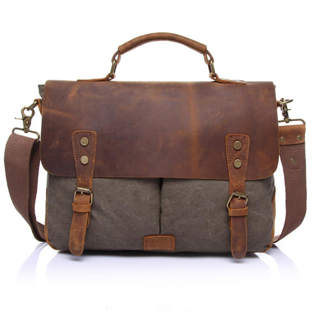 Satchel Messenger Bag For Men Vintage Real Leather Canvas 15-Inch Laptop Messenger Bag/ Briefcase By Glary Star.