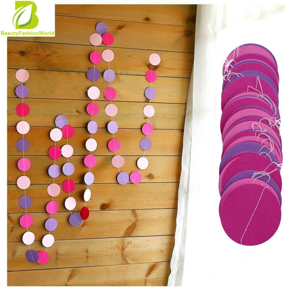 Oem Hanging Paper Garlands Wedding Party (rose & Pink & Purple) By Beautyfashionworld.