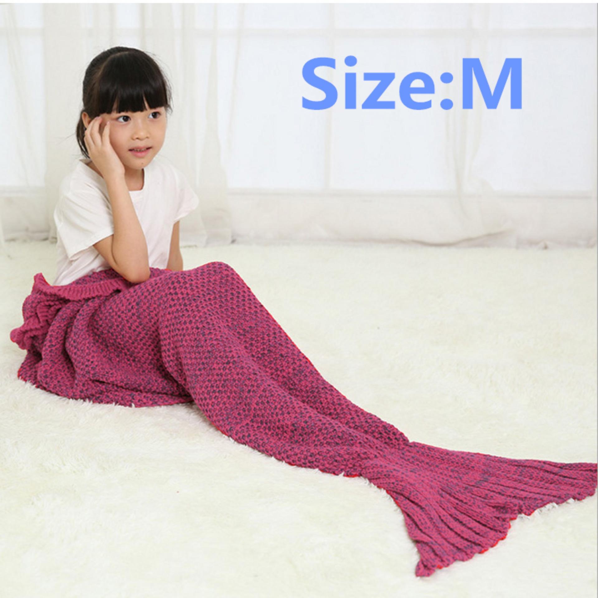 Price Comparisons Ybc Knitted Mermaid Tail Blanket Handmade Crochet Soft Blankets Purple