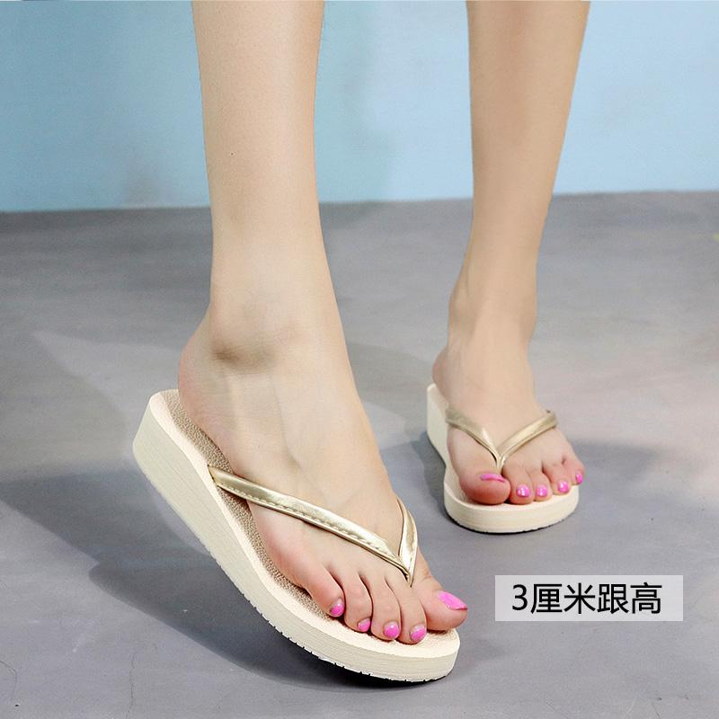 9cf07918ec9afb 2018 Slipper Female Summer Fashion Outer Wear Flip-flops Thick Bottomed  Korean Style High Heels