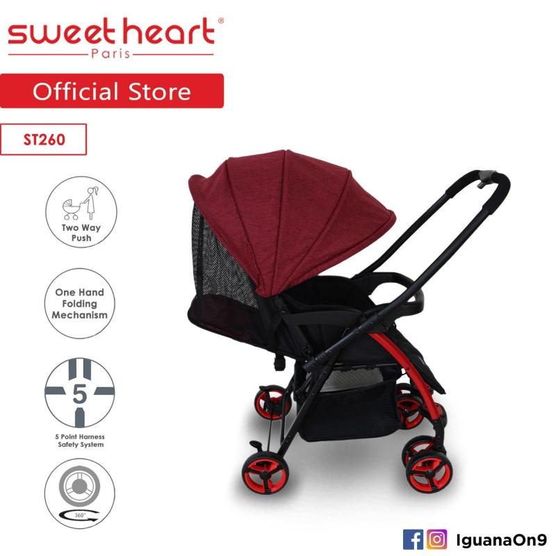 Sweet Heart Paris ST260 Dirt Repellent Stroller (Red) with Reversible One-Handed Folding System Singapore