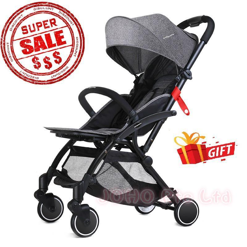 2018 New Model ! Best One Hand Fold Cabin Size Ultra Lightweight Baby Stroller - Kiddopotamus® - Grey Color Singapore