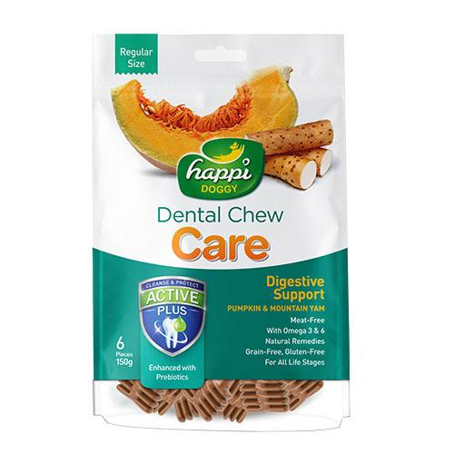 "Happi Doggy Dental Chew Care (digestive Support) 4"" Pkt 150g By Theonepet."