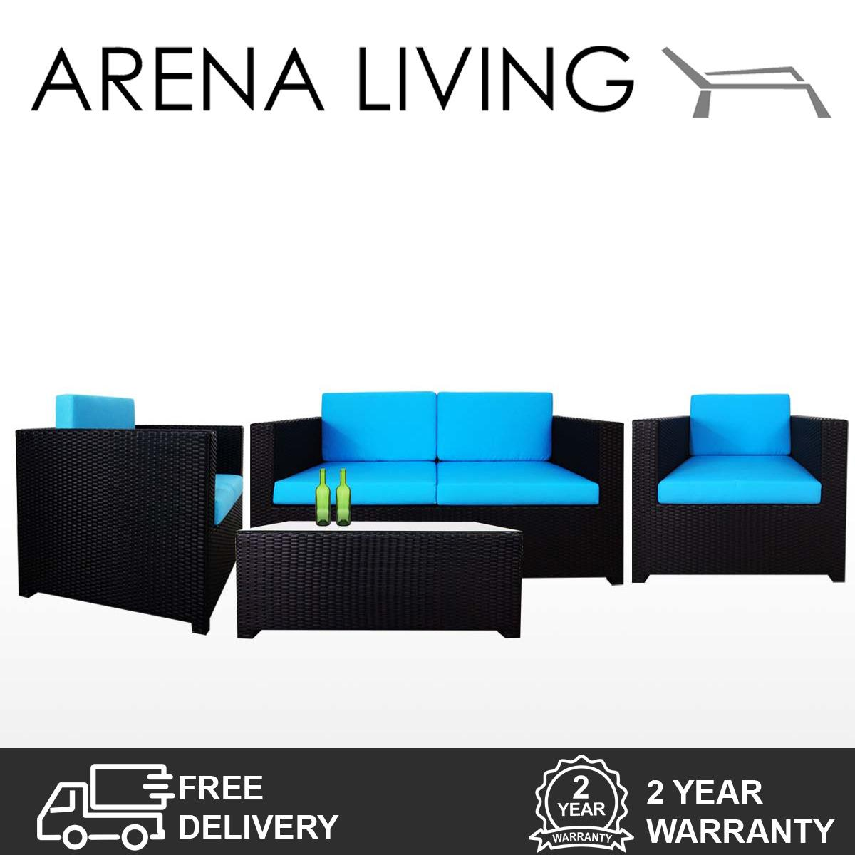 Discount Fiesta Sofa Set Ii Blue Cushions Outdoor Furniture By Arena Living™ Arena Living