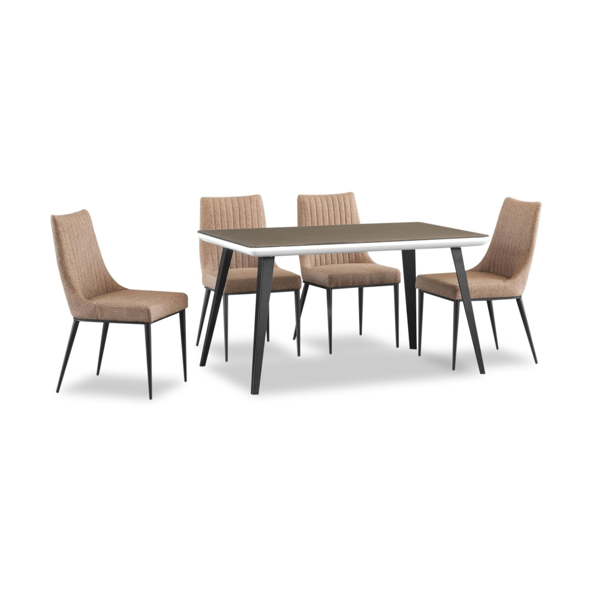 Clara Tempered Glass Top Dining Table + 4 Dining Chairs (FREE DELIVERY)(FREE ASSEMBLY)