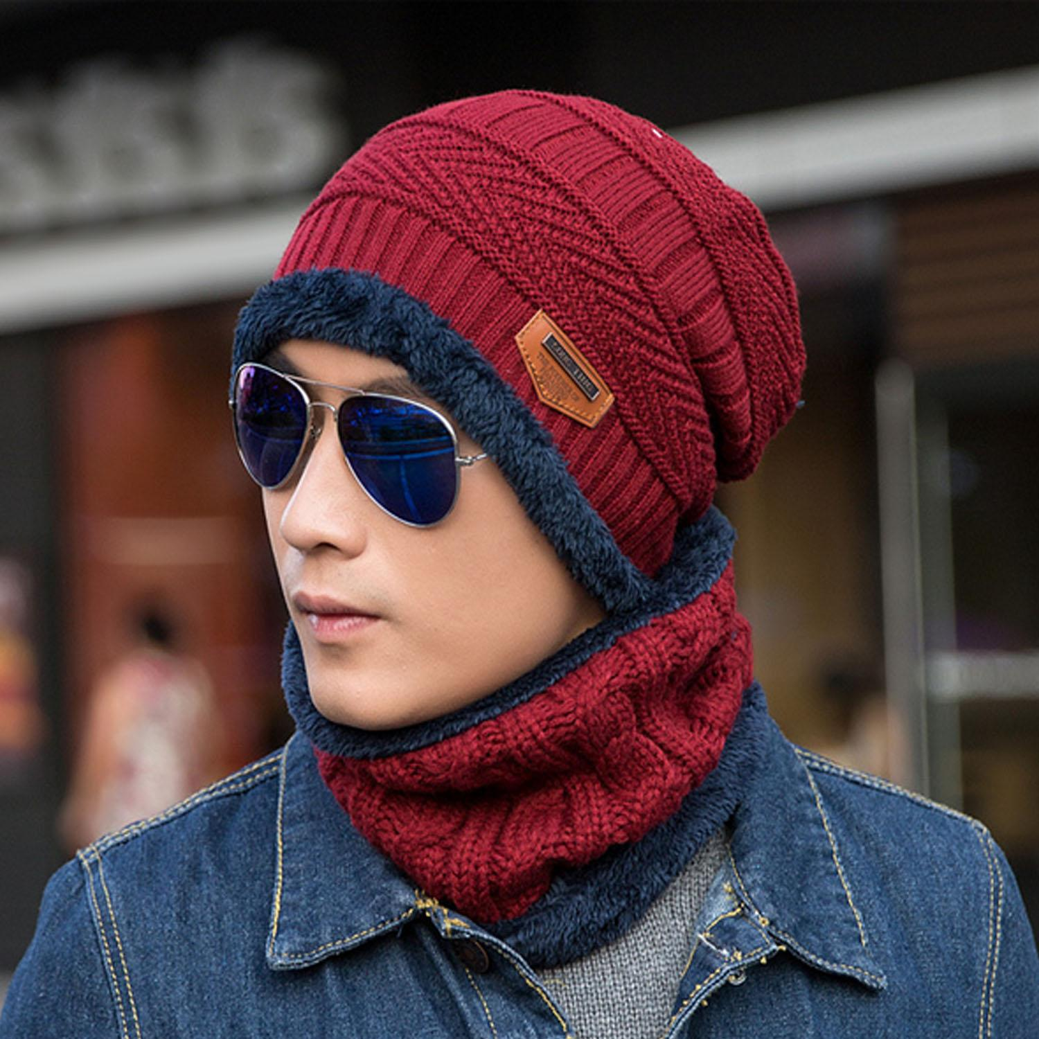 aa70a3dc925 2 PCS Unisex Winter Knit Hat and Neck Warmer Scarf Set Men Women Thick  Knitted Skull