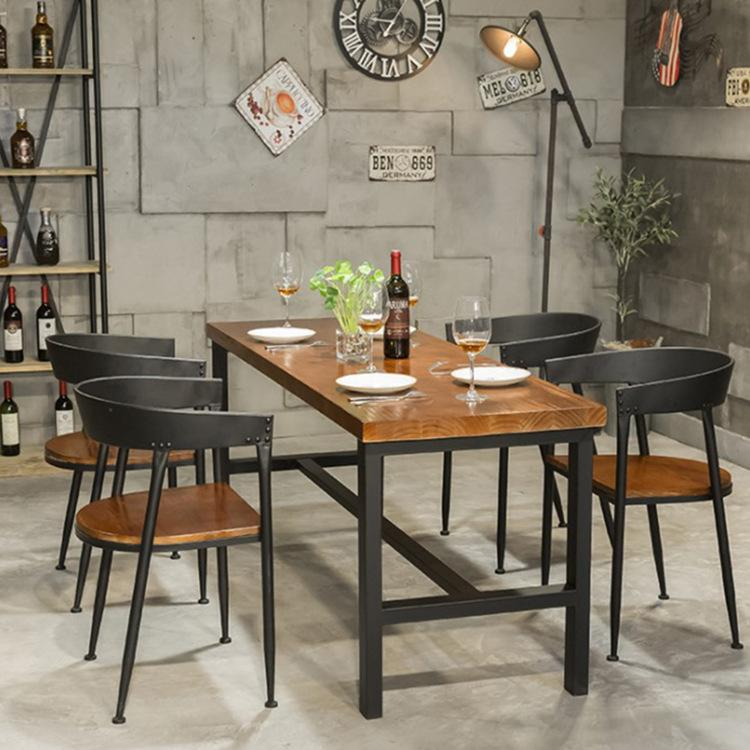 And Interest American Dining Tables And Chairs Set Mediterranean 6 People with Small Apartment Dining Table Made of Solid Wood Restaurant Strip Table