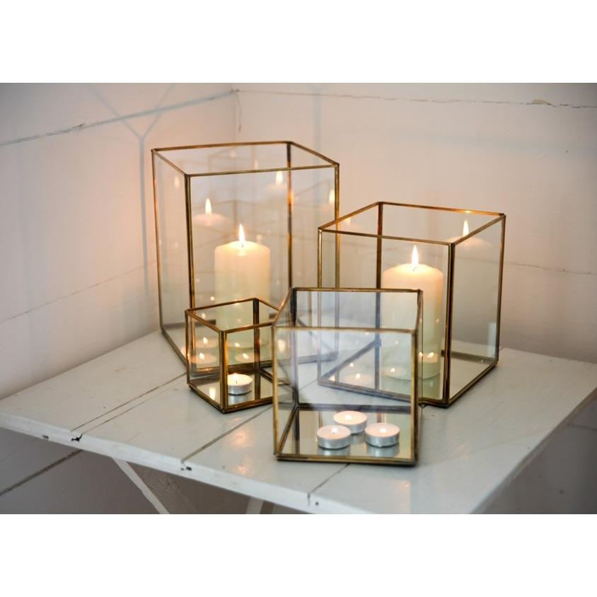 Gold Geometric Terrarium/ring Boxes (small Cube) By Initial Avenue.