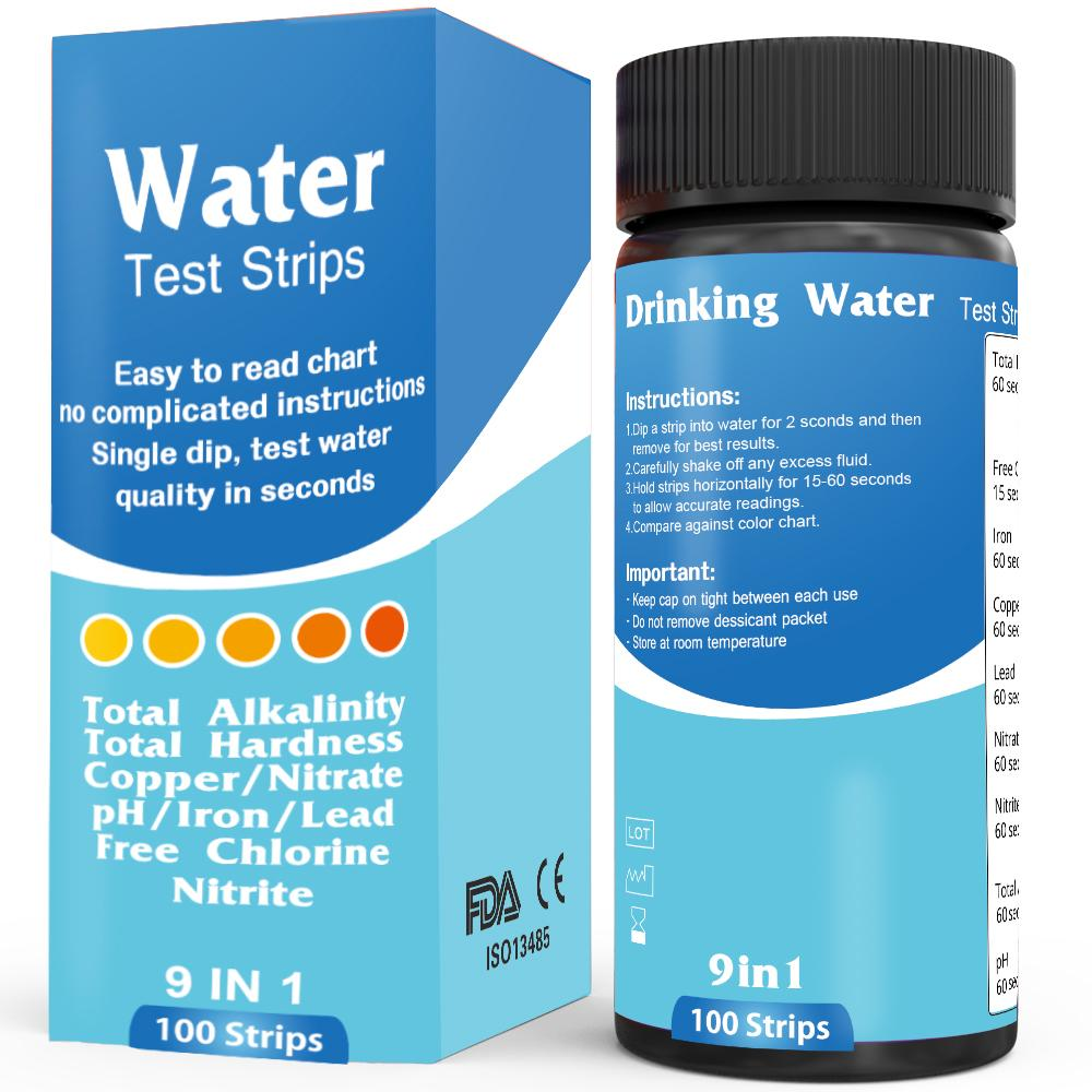 Water Test Strips 9 in 1 (100 strips)  Accurate quality testing for home  and professional use  Results in seconds! Total Alkalinity, Total Hardness,