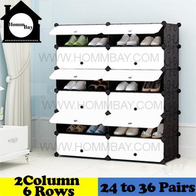 DIY Shoe Shoes Rack Storage Drawers Multi Purpose Modular Organizer Plastic Cabinets I BFW Series I 2 Columns 6 Rows