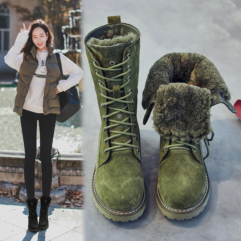 b8334bd2b723 Winter Fur Snow Boots Female England Martin Boots Flat Short Boots Leather  Cotton Boots Warm plus