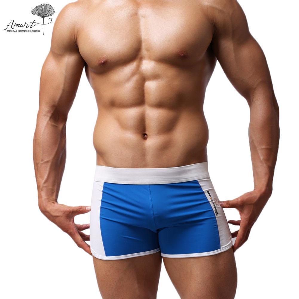 Amart Men Swimwear Swimming Trunks Low Waist Patchwork Color Summer Beach Boxers Panties By Amart.