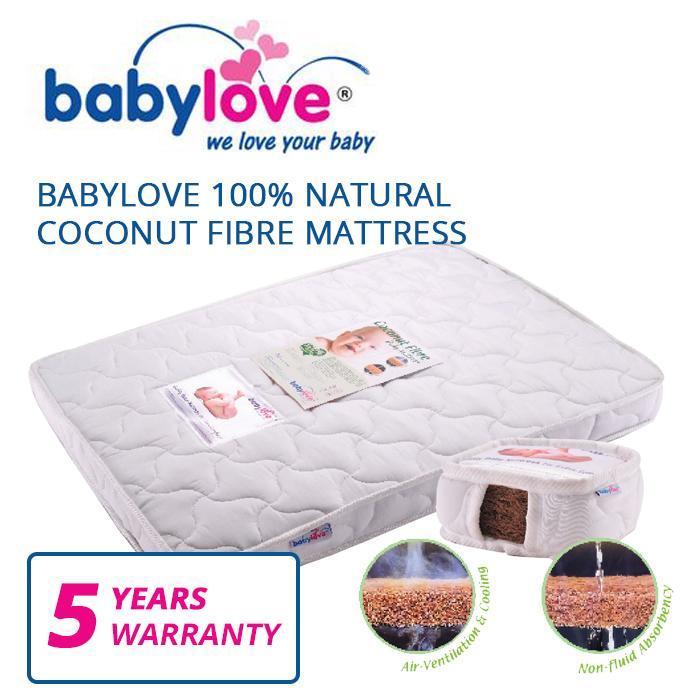 Babylove 100% Natural Coconut Fibre Mattress (free Mattress Protector).