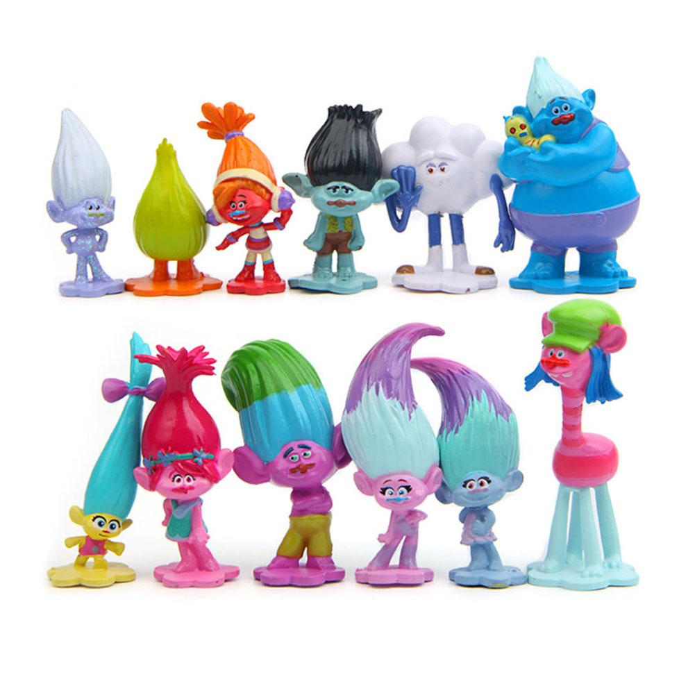 Veecome 12pcs/lot Trolls Action Figure Poppy Simulation Model Kids Toys Children Gift Solid Doll Ornaments Cake Decoration By Veecome.