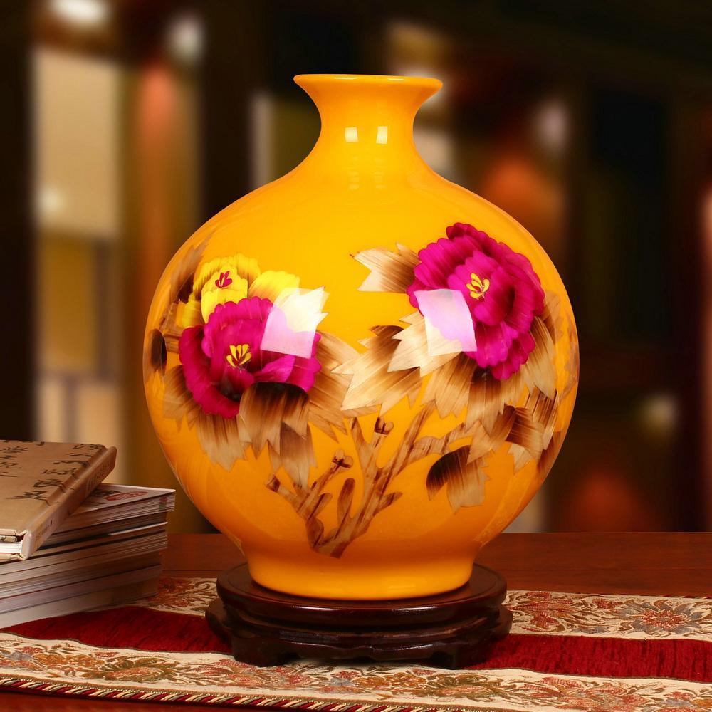 Jingdezhen Ceramic Works Vase Top Grade Straw Yellow PEONY round Vase Modern Chinese Style 58 Decoration Set