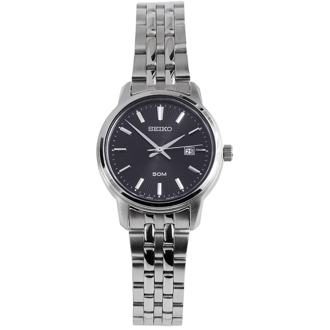 Seiko Womens SUR663P1 SUR663 Black Dial Stainless Steel Watch