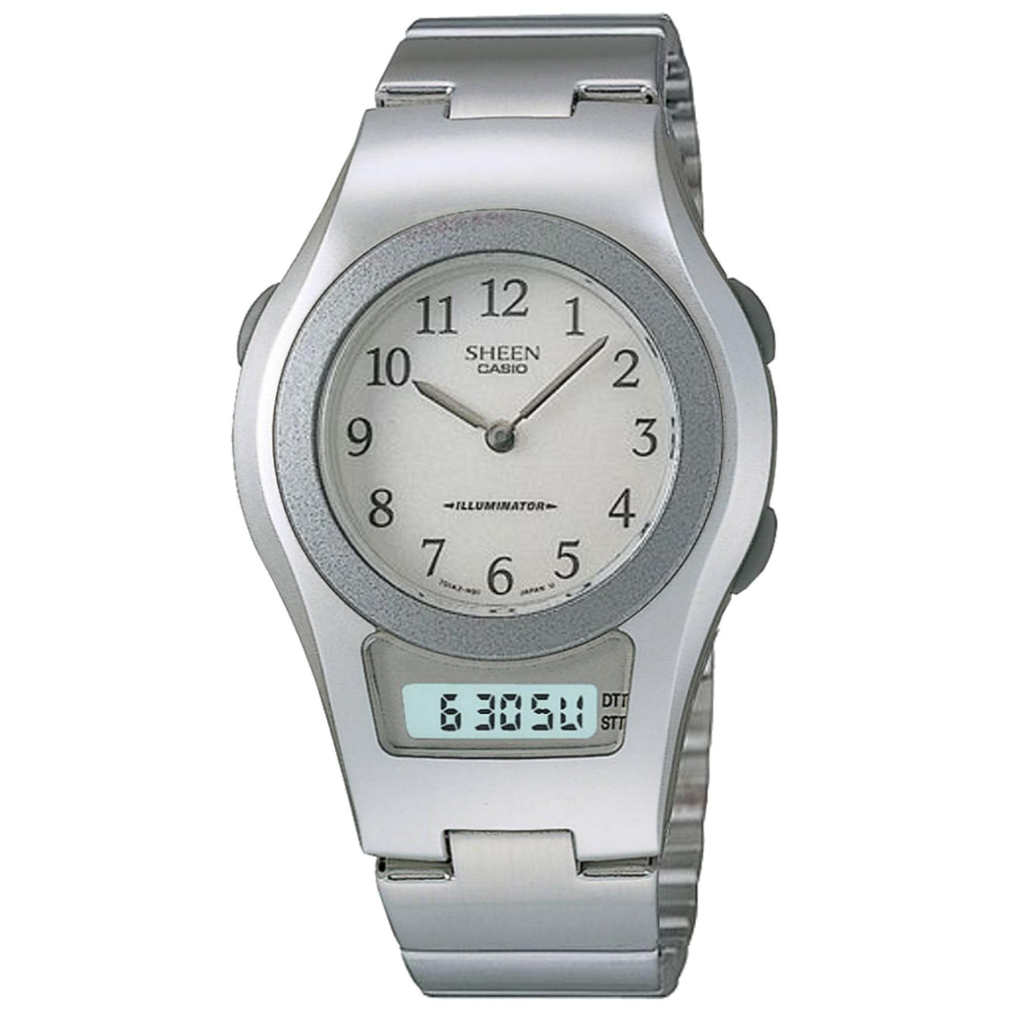 Who Sells Casio Sheen Ana Digi Dual Time Classic Watch Shn 100 7B The Cheapest