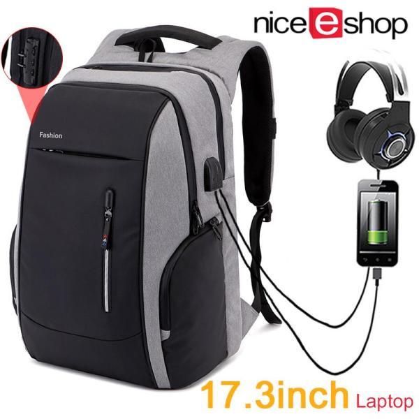 niceEshop 17/17.3 Inch Laptop Backpack With USB Charging Port For Men Women, Anti Theft Business Slim Travel Backpacks Computer Bag, Water Repellent Lightweight School College Bookbag