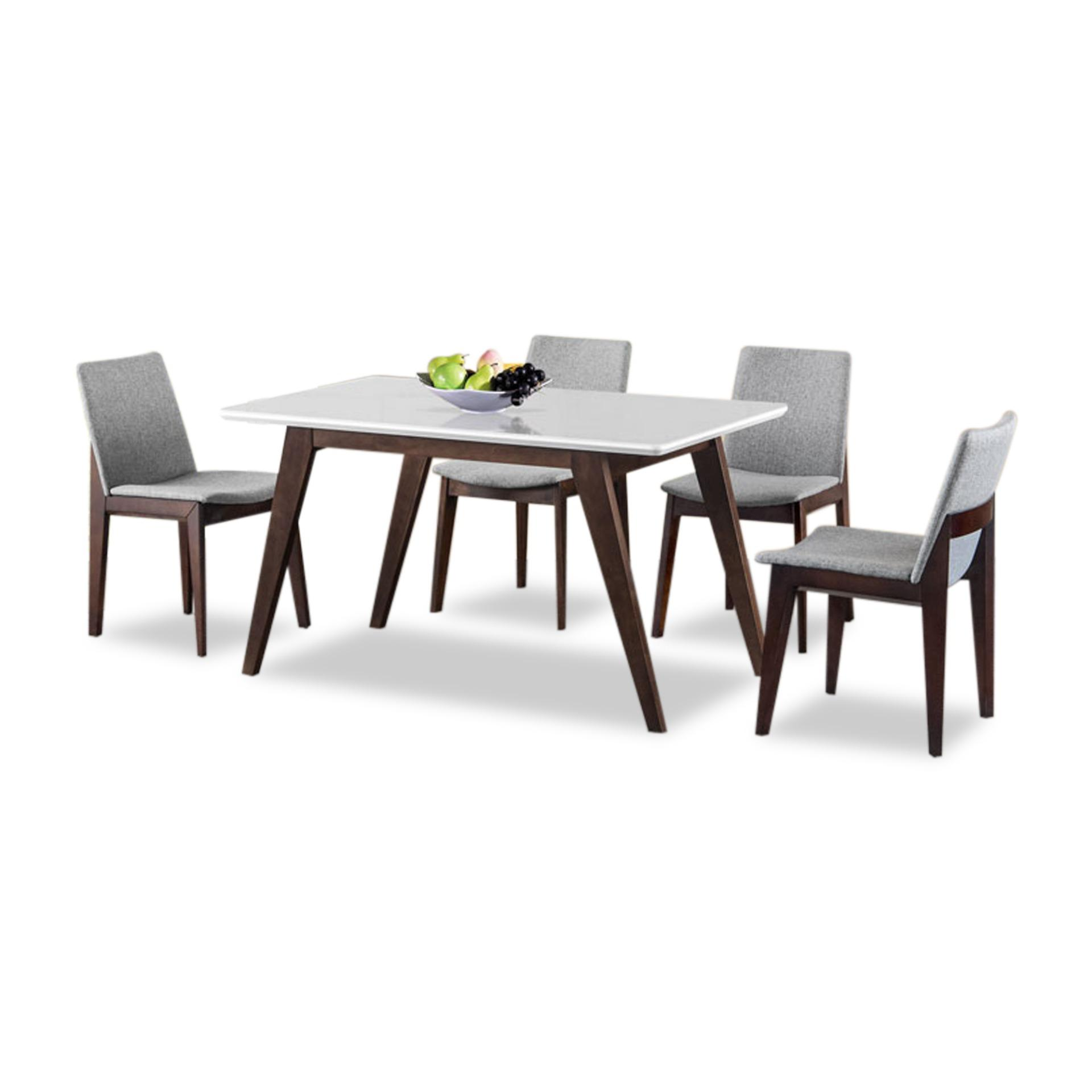 Hanne Tempered Glass Top Dining Table (FREE DELIVERY)(FREE ASSEMBLY)