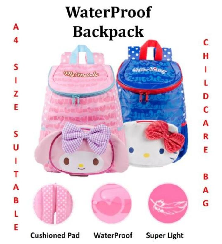 ♥ Hello Kitty Melody WaterProof Kids Children School Bag ♥ Cartoon LIGHT WEIGHT ♥ Childcare Backpack ♥ A4 Size Suitable ♥ Outing Excursion Outing Event Picnic ♥ Water Bottle Pocket