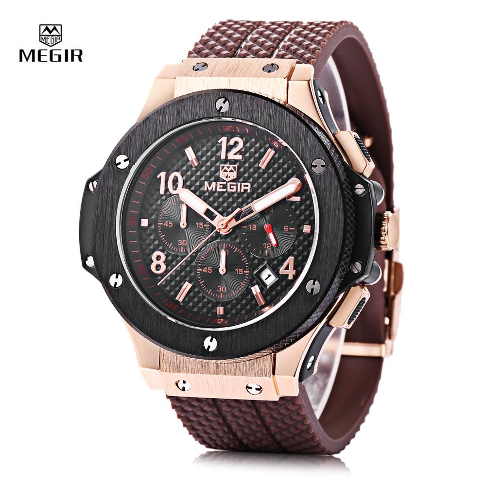 Buy Megir 3002G Male Quartz Watch With Date Function Silicone Band Luminous Pointer 30M Water Resistance Intl Megir Cheap