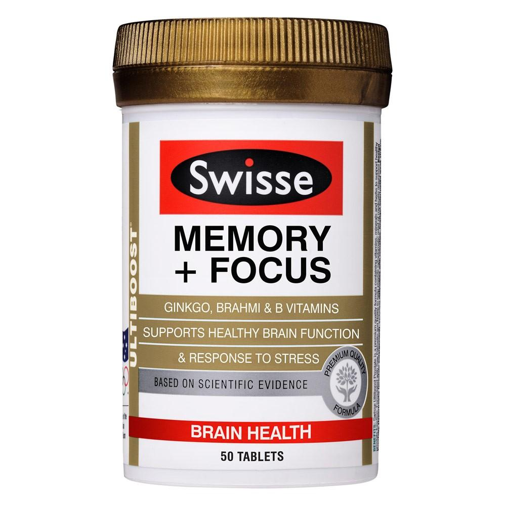 Swisse Ultiboost Memory + Focus 50 Tablets Jul 2020 - Product Of Australia - 100% Authentic - Containing Ginkgo, Brahmi And B Vitamins, To Help Support Brain Function, Healthy Mental Performance And Provide Support During Times Of Stress. By Barryhomefix.