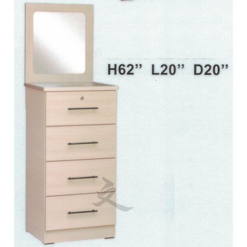 Dresser Cabinet with Mirror Chest of Drawers Key lock Storage