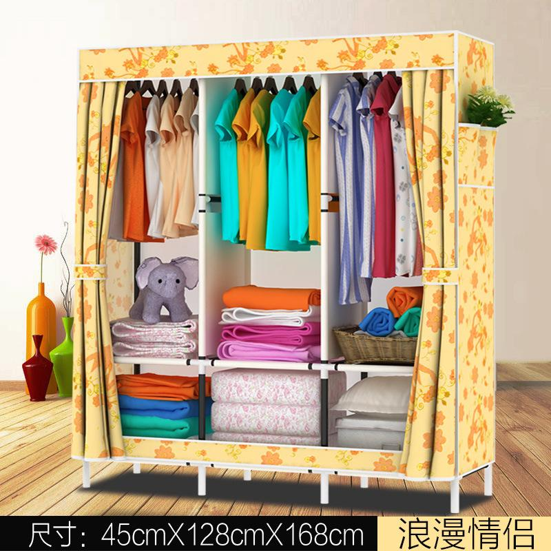 LEHUOSHIGUANG Simple Wardrobe Steel Frame Fabric Oxford Cloth Closet Steel Pipe Assembly Double Large Size Closet