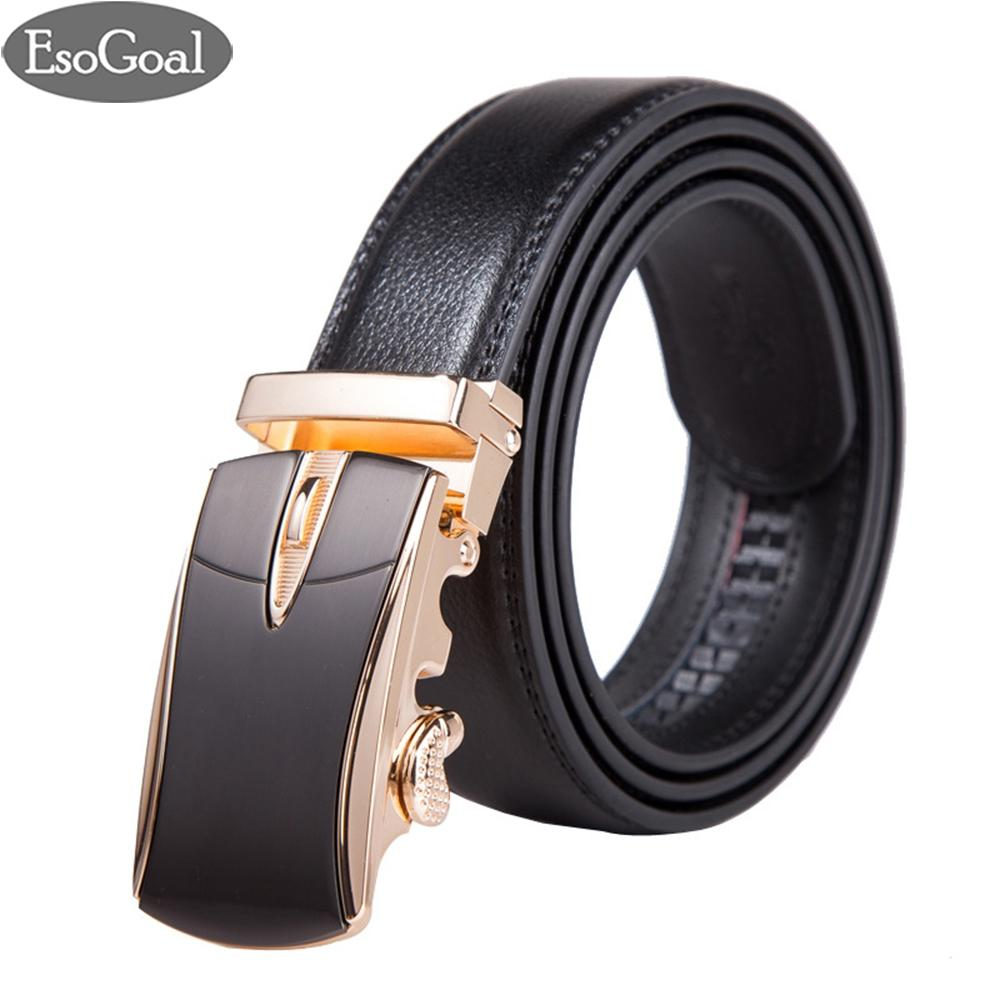 Esogoal Belts Mens Leather Ratchet Comfort Cilp Adjustable Automatic Sliding Buckle Belt (black&glod) - Intl By Esogoal.