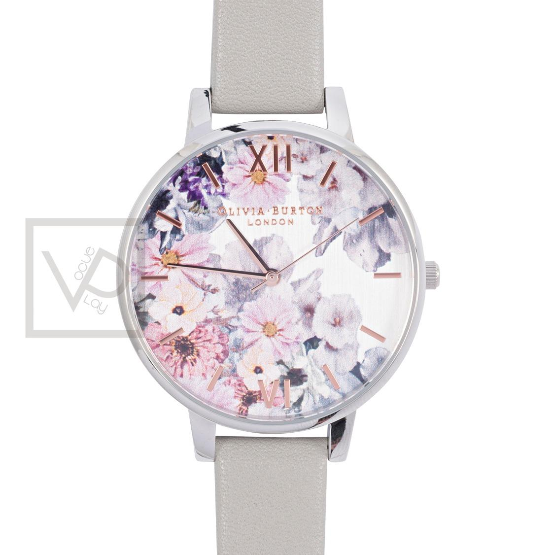 Olivia Burton Enchanted Garden Dove Grey Leather Strap Watch Ob15Fs76 Compare Prices