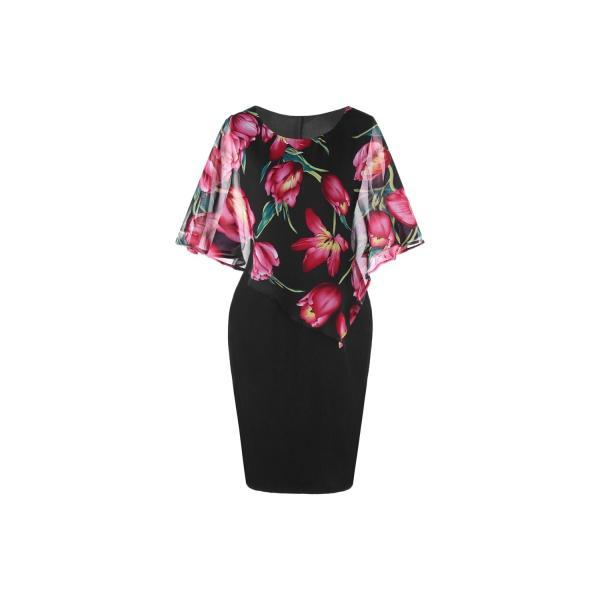 Compare Price Plus Size Floral Capelet Dress Rainlotus On China