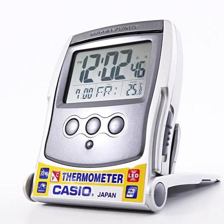 CASIO TRAVEL CLOCK / DESK CLOCK THERMOMETER LED LIGHT MODEL# PQ-65-8DF