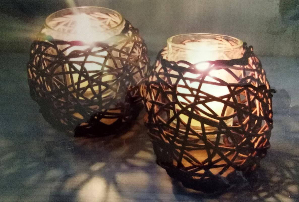 Dia 9.5cm Vine + Glass Candle Holder w/ Scented Candle w/ PVC Box Packing (Candle Color: Random)
