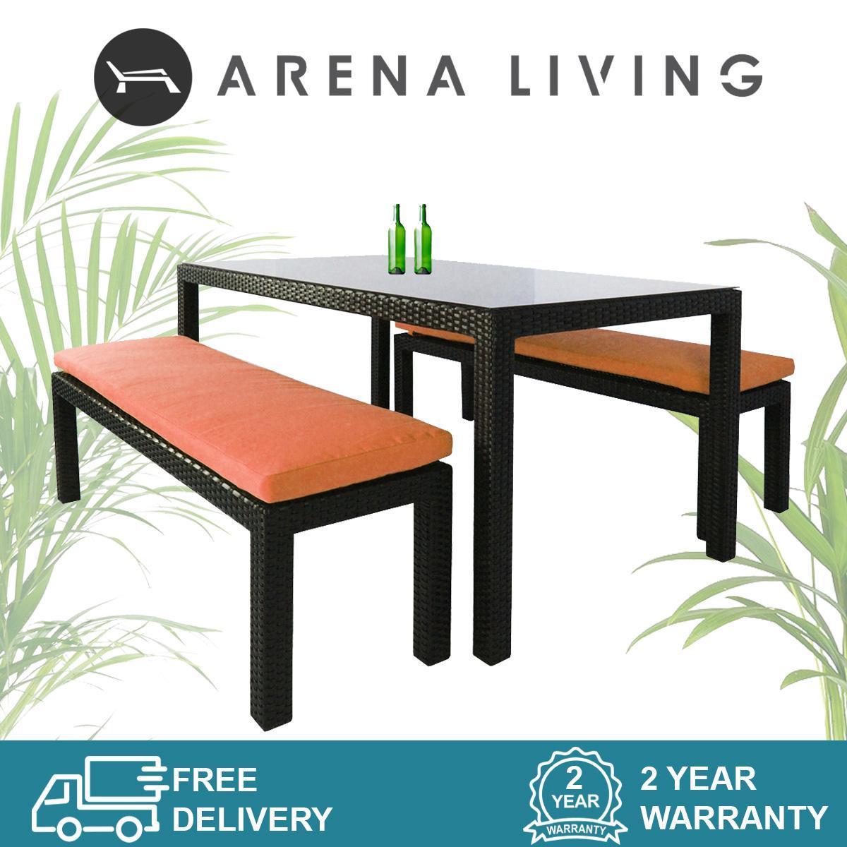 Bondi 2 Bench Dining Set Orange Cushion, Outdoor Furniture by Arena Living
