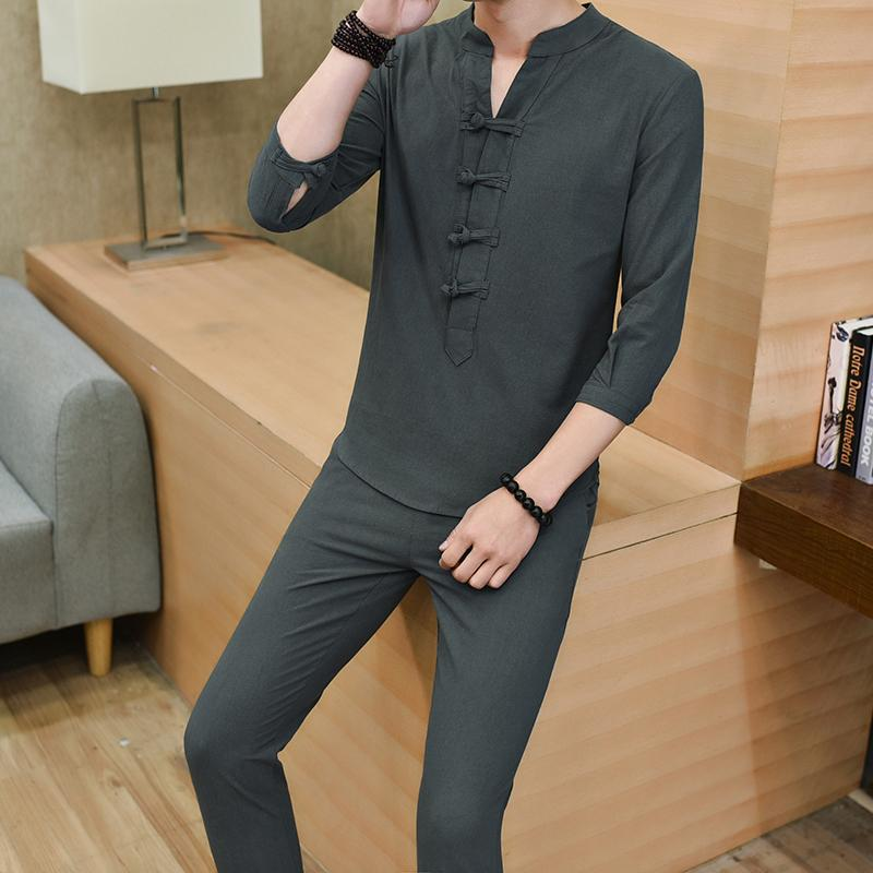 Summer Pure Cotton Men s Pajamas Suit Spring And Autumn Chinese-style  Sleeve Trousers Leisure Home b65329957