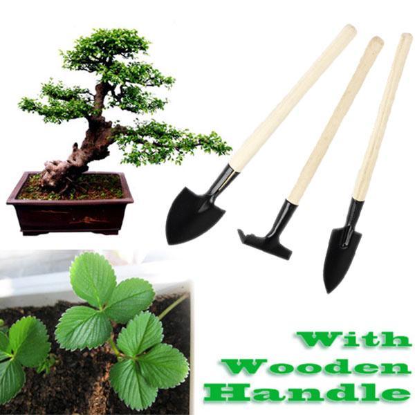 fancydream 3pcs Mini Garden Plant Tool Set With Wooden Handle Gardening Shovel Rake Tools Kits
