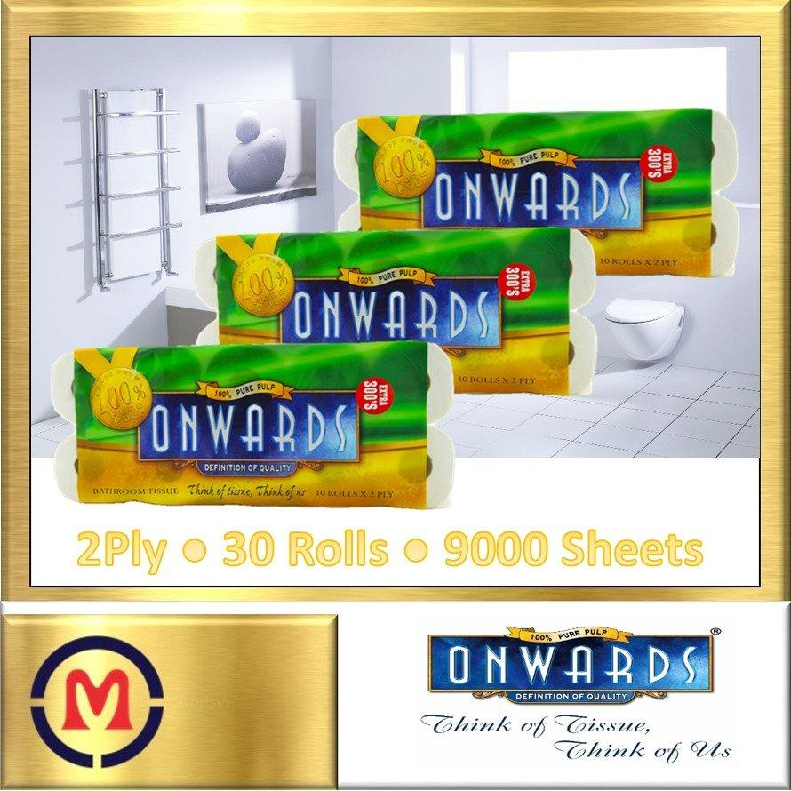 Get Cheap 【Onwards Bathroom Tissue】100 Pure Pulp ✦ 2 Ply ✦ 300 Sheets X 30 Rolls ✦ Bundle Of 3 ✦