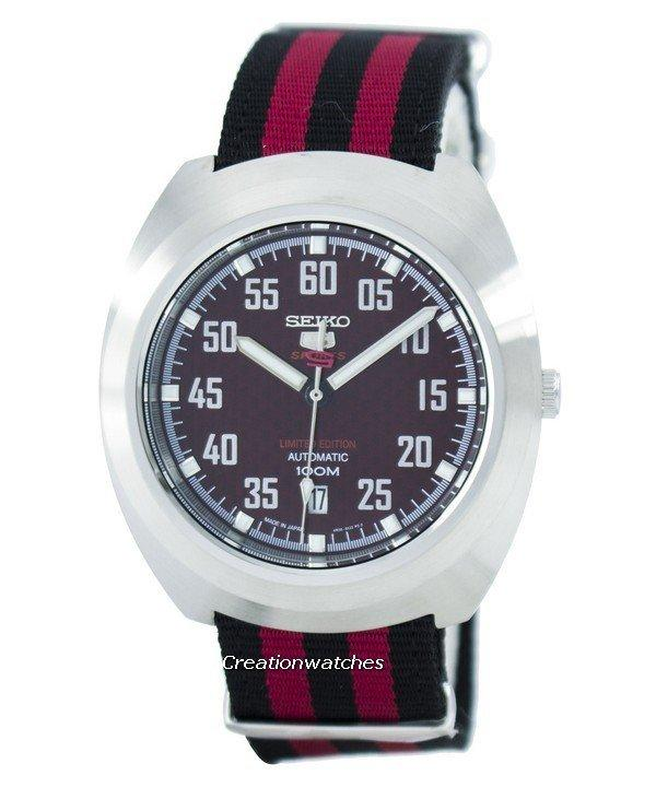 Seiko 5 Sports Limited Edition Automatic Japan Made Men's Black & Red Nylon Strap Watch SRPA87J1