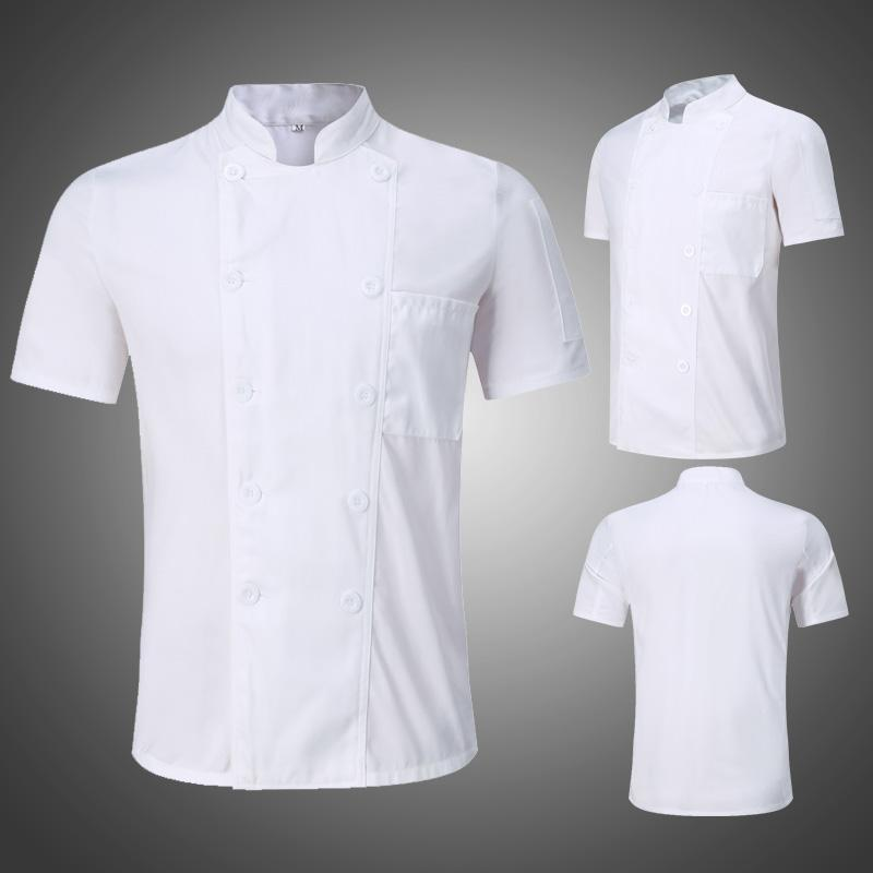 Chef Work Clothes Short Sleeve Summer Hotel Restaurant Hotel Chef Service Breathable Thin Pure White Kitchen Work Wear Uniform By Taobao Collection.