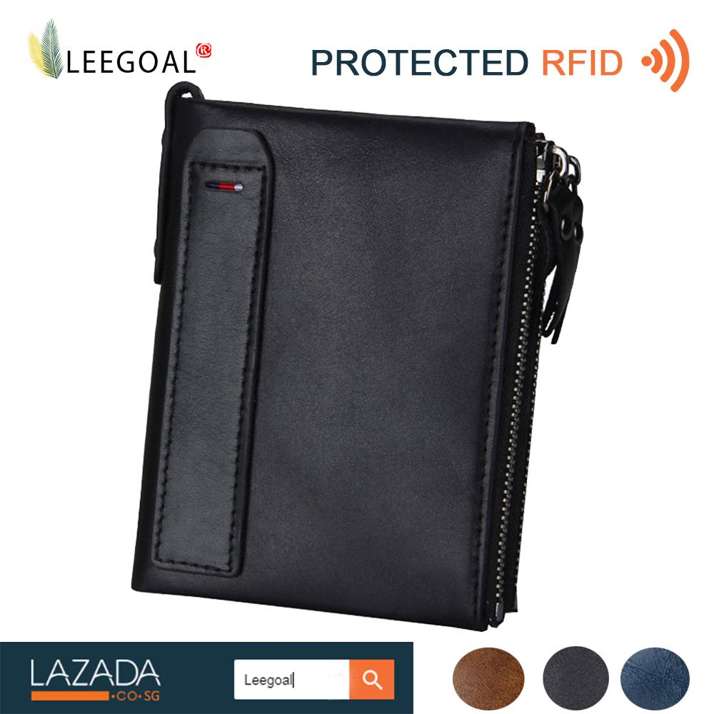 Buy Leegoal Men Rfid Blocking Wallet Genuine Leather Double Zipper Bifold Wallet Coin Card Holder Black Intl Cheap China