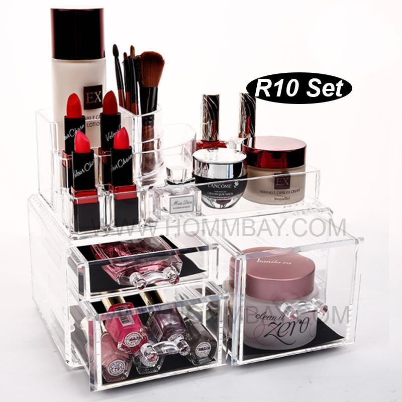 RR10 I Clear Acrylic Transparent Make Up Makeup Cosmetic Lipstick Brush Brushes Jewellery Jewelry Organiser Organizer Drawer Storage Box Holder I Large I Stackable
