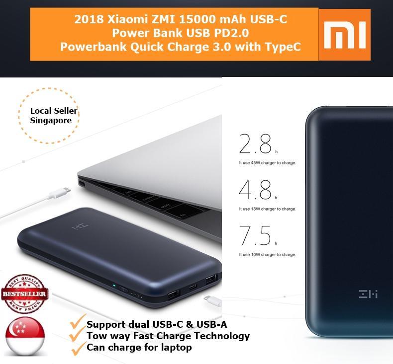 Xiaomi Zmi 15000 Mah Usb C Power Bank Usb Pd2 Powerbank Quick Charge 3 Free Shipping