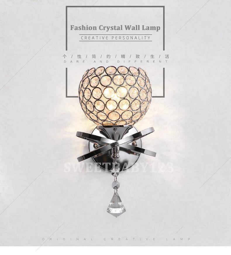 LED Modern Crystal Small Wall Lamp Sconce Light Bedroom Bedside Hallway lighting  - intl
