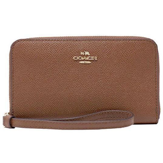 Coach Phone Wallet Wristlet Light Gold / Saddle Brown 2 # F58053 + Gift Receipt