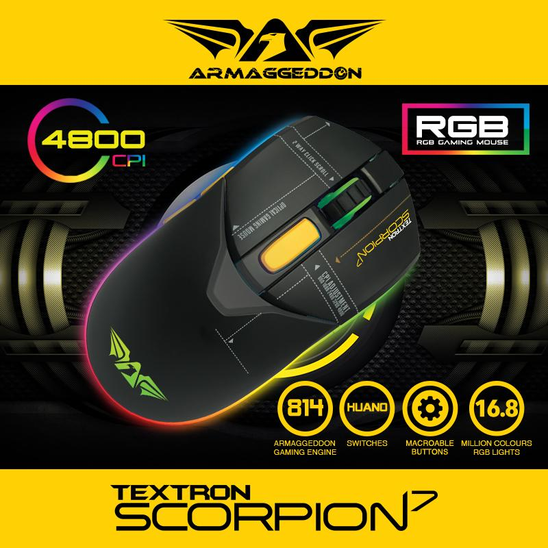 Scorpion 7 Armaggeddon 5 button RGB 4800CPI Gaming Mouse 5 button RGB 4800CPI