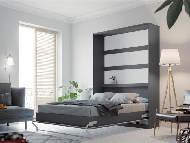Murphy Wall Bed/Double 140x200 /Vertical/Highgloss Anthracite/curved leg