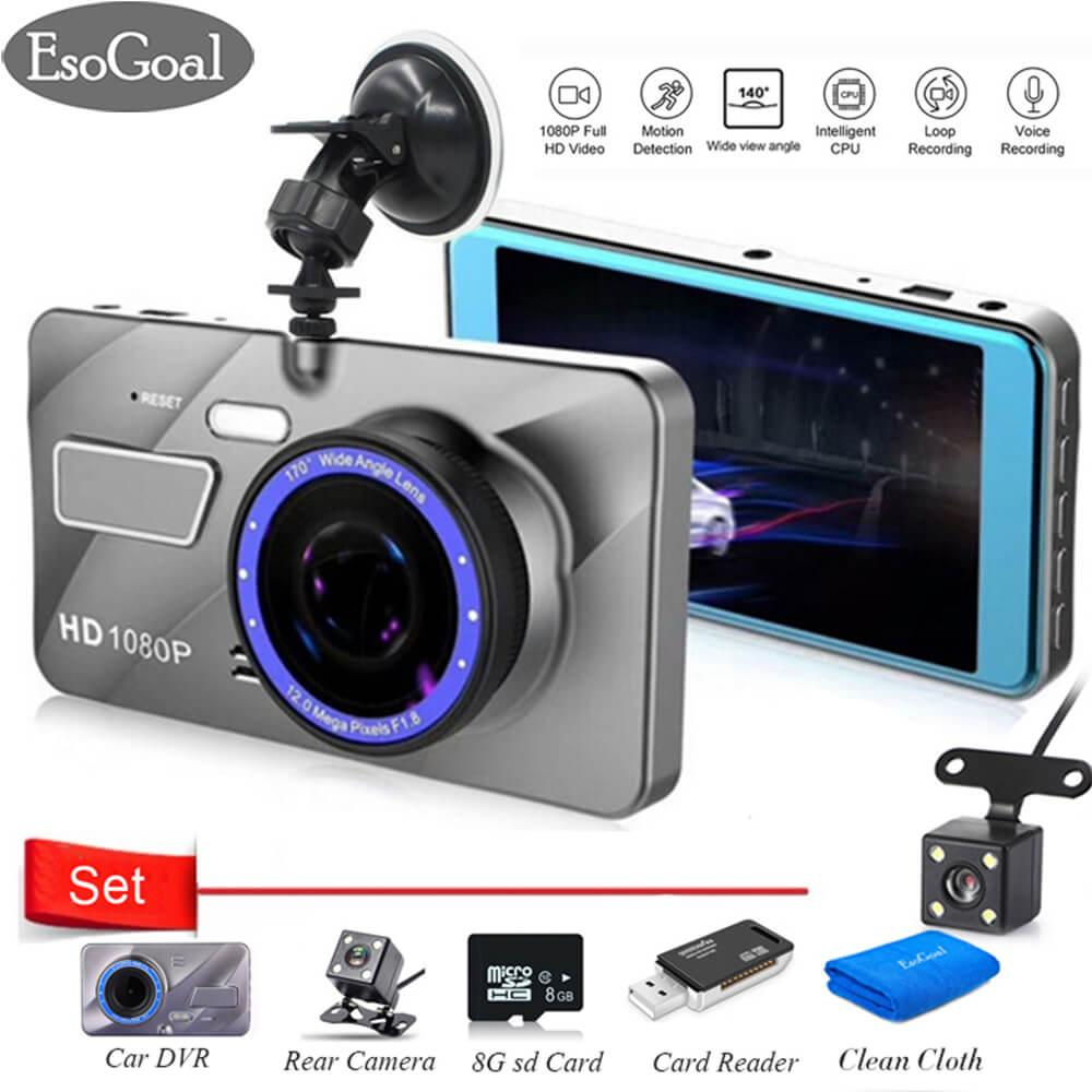 Discount Esogoal 4 Dual Lens Dash Cam Car Camera Recorder Full Hd 1080P Front 720P Rear Lens Super Wide Angle Car Dvr Dashboard Camera And Micro C 10 8G Memory Card And Usb 2 Sd Card Reader Esogoal