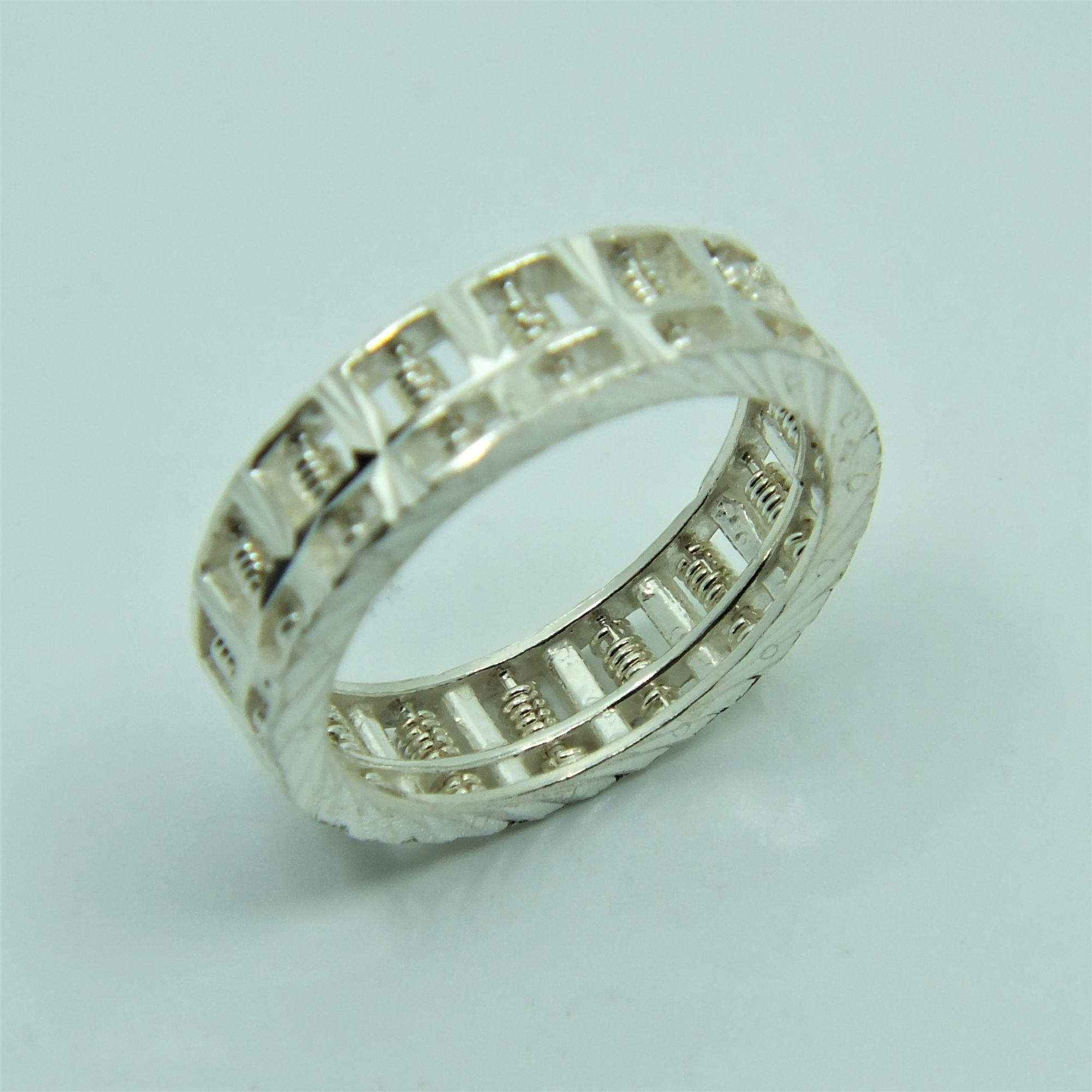 Purchase Silver 1314 925 Pure Silver Abacus Ring 925纯银算盘戒指 Online